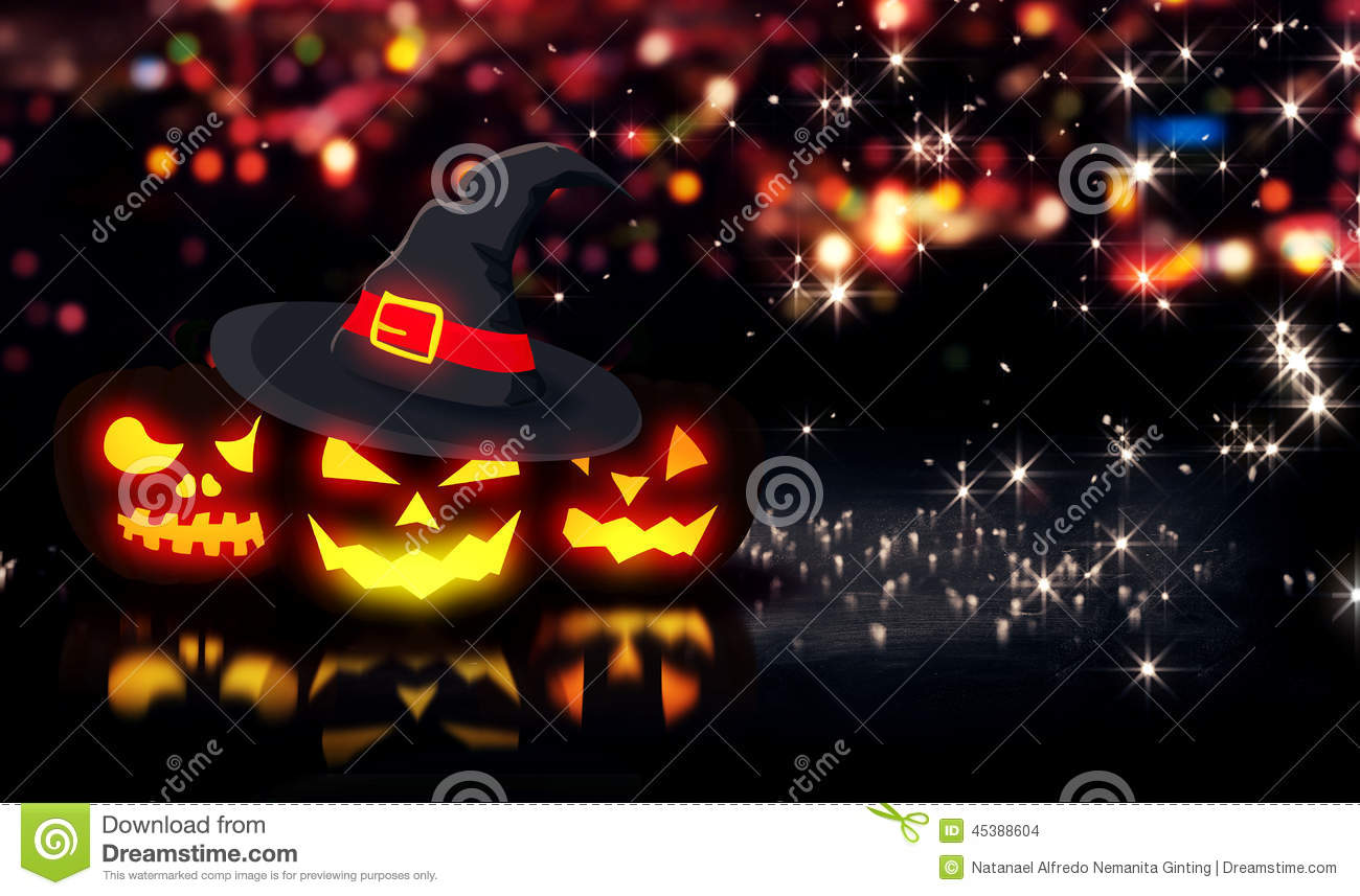 Stars Night Hello October Wallpaper. At January , 2018. Halloween Glowing  Three Pumpkins Night City Bokeh Background 3D Stock Illustr.
