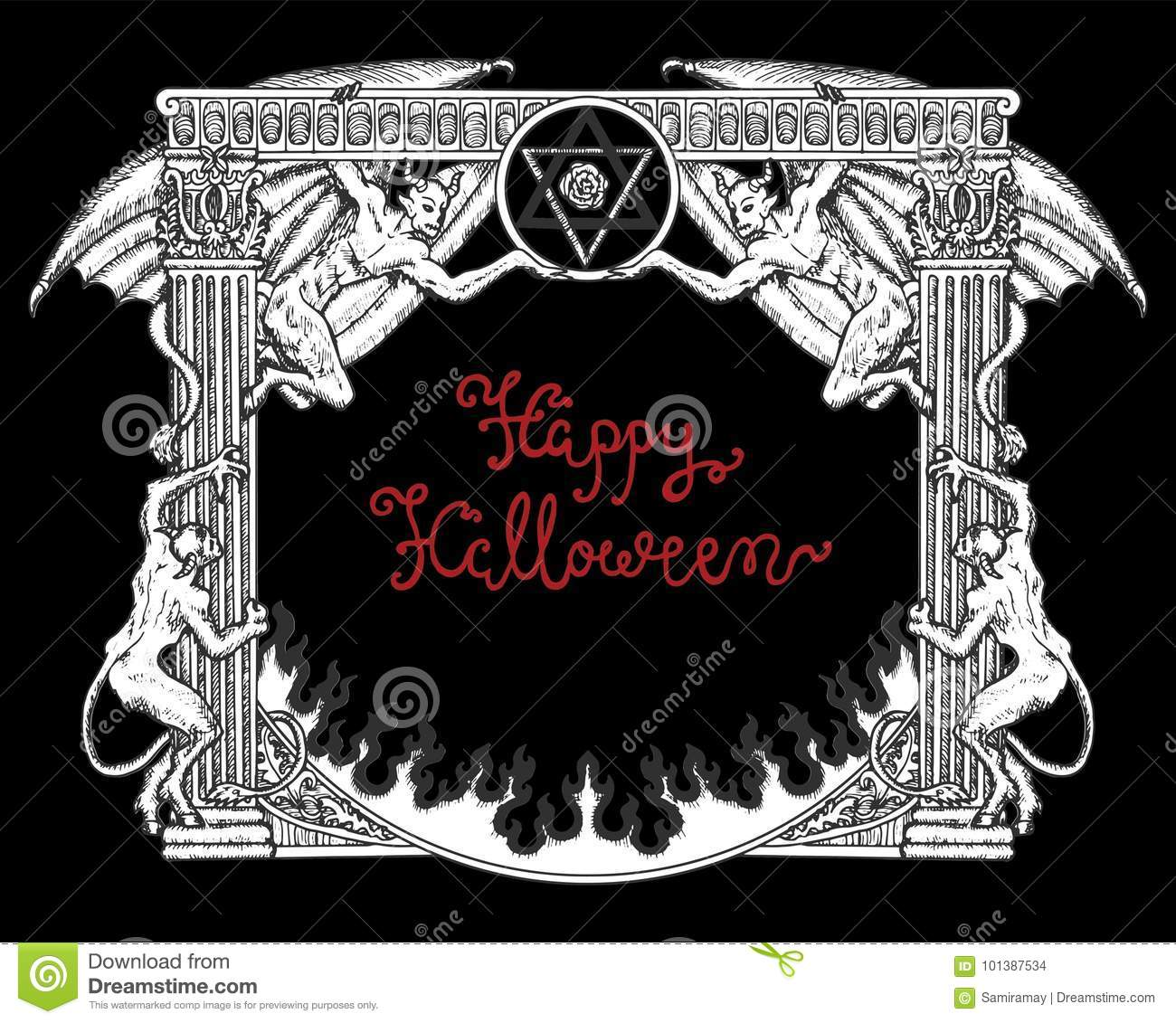 Halloween Gothic Frame With Demons And Pentagram On Black Background