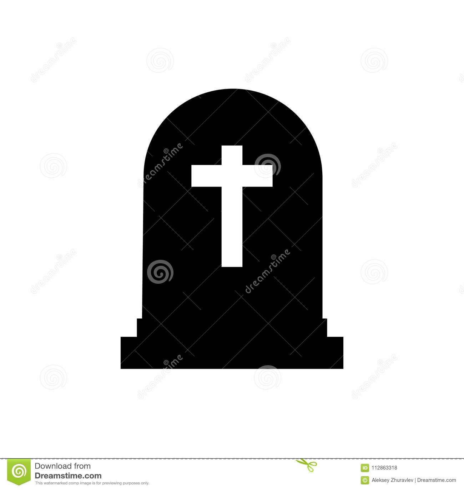 Well-known Halloween Grave Icon. Gravestone Illustration. Rip Tombstone Flat  IQ64
