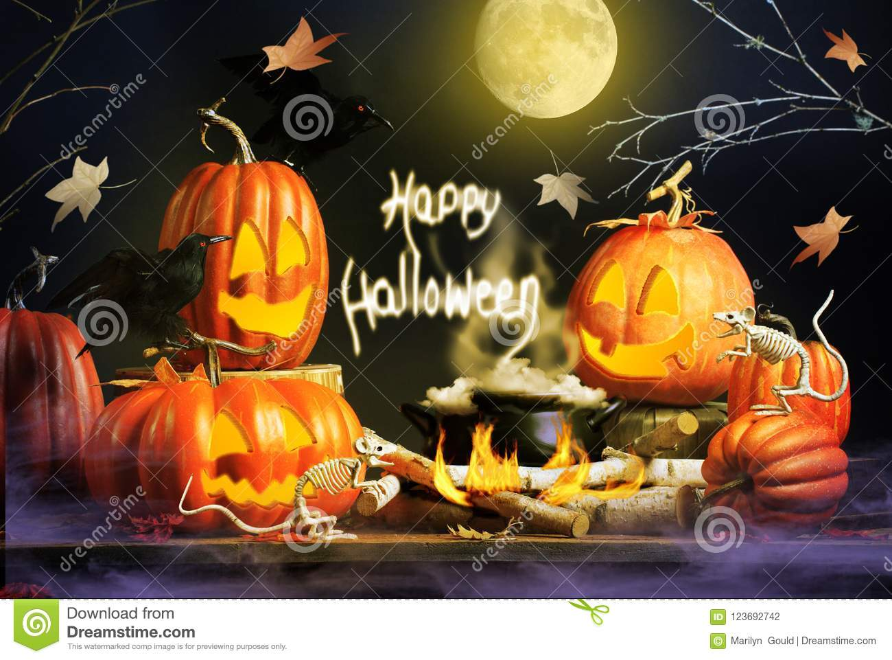 Halloween Greeting With Pumpkins And Skeleton Mice Stock Photo