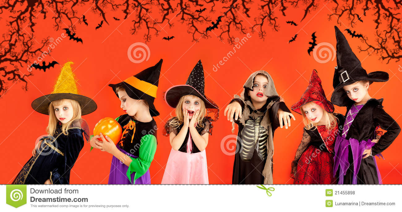 halloween group of children girls costumes stock photo - image of