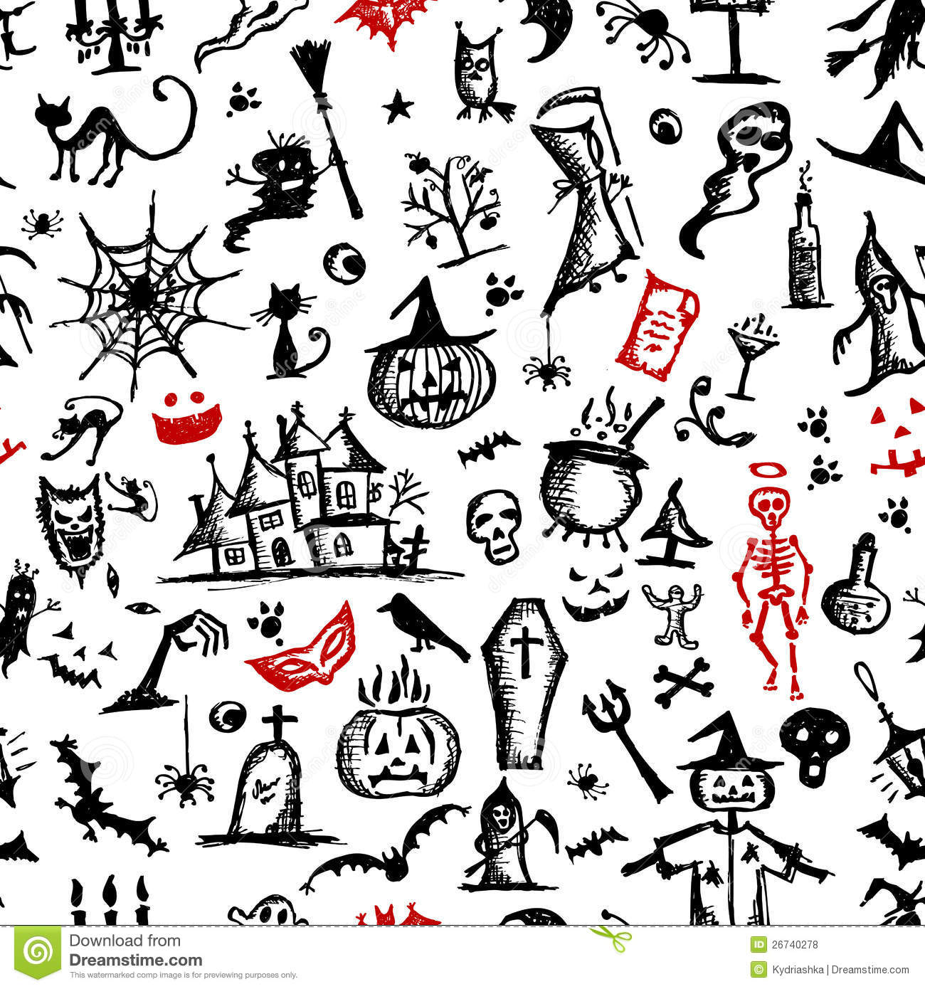 Halloween Hand Drawn Pattern For Your Design Stock Vector