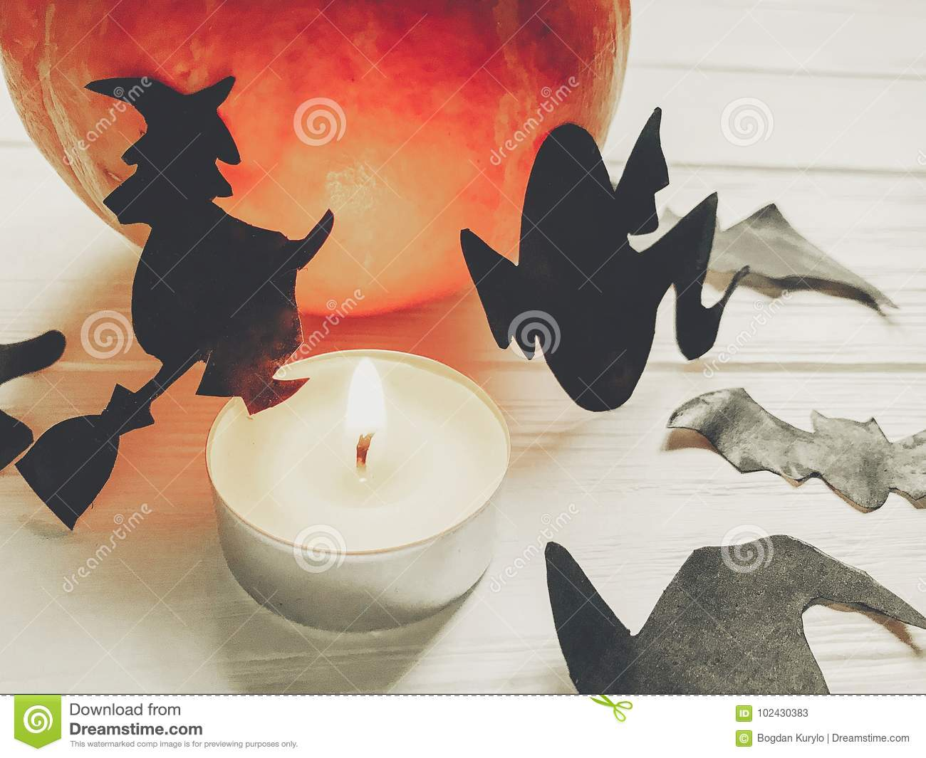 Witch Cutouts Halloween | Halloween Happy Halloween Concept Pumpkin With Witch Ghost Bat