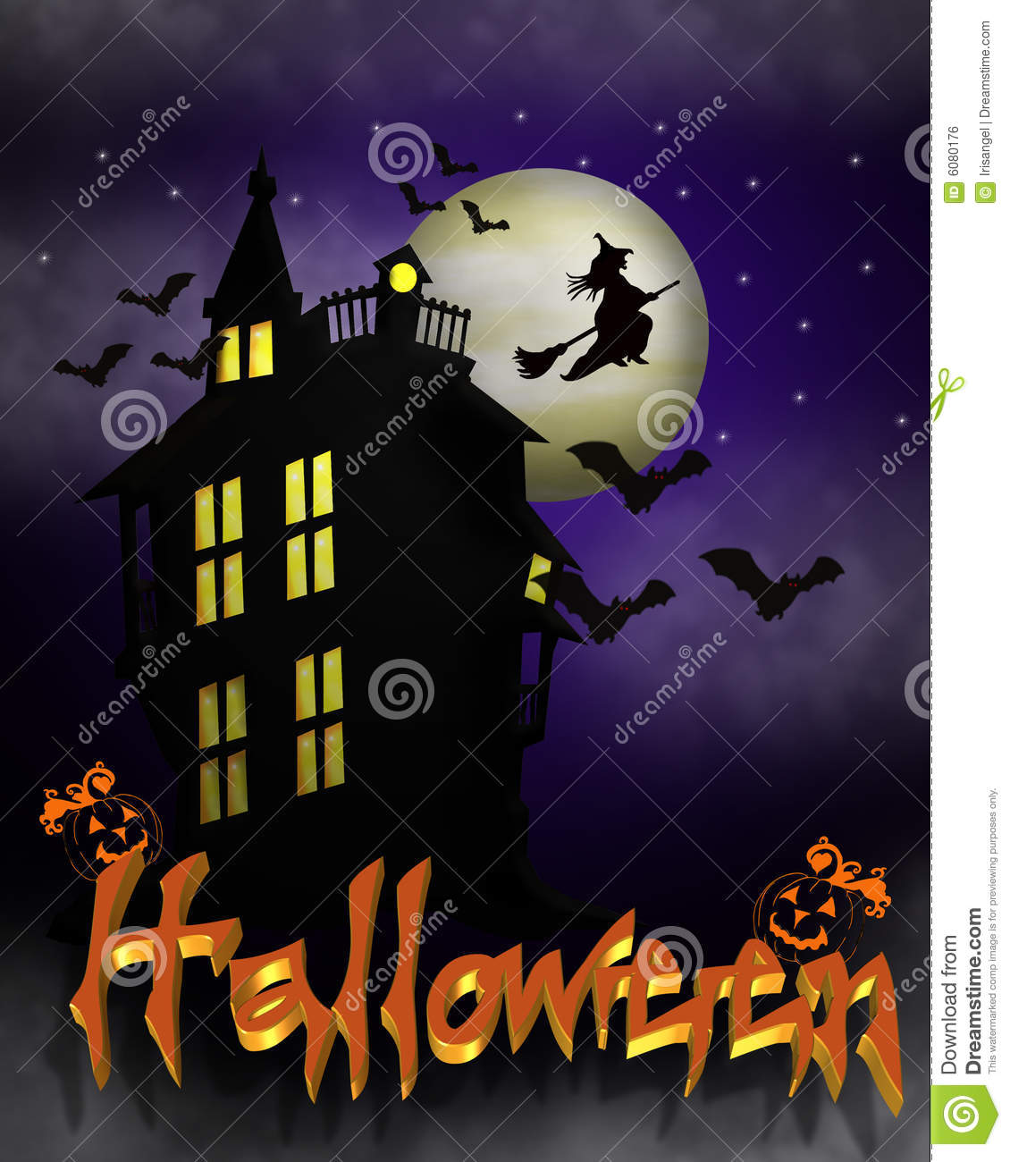 Halloween Haunted House Background Royalty Free Stock