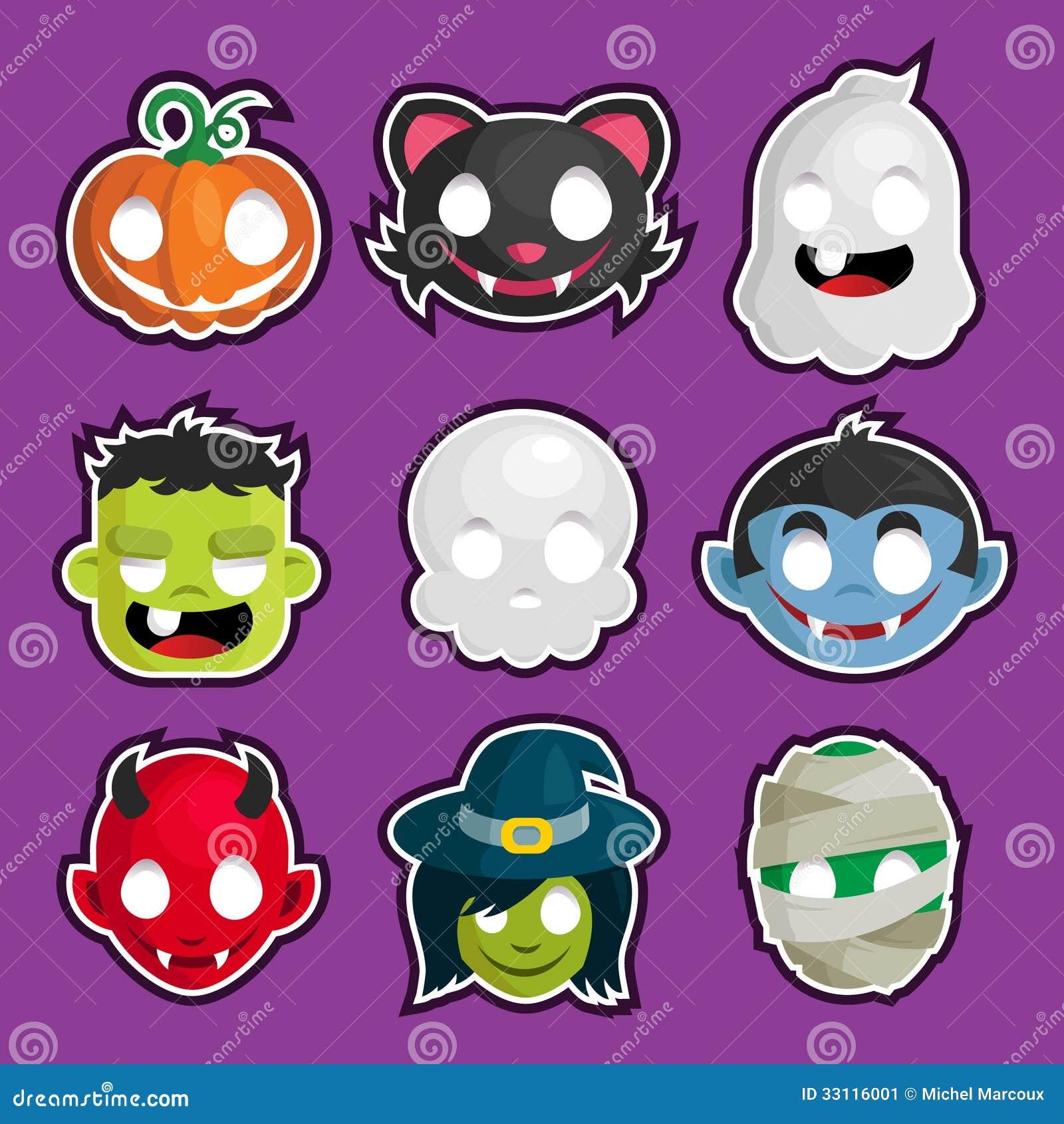 Halloween Head Stickers Stock Image - Image: 33116001