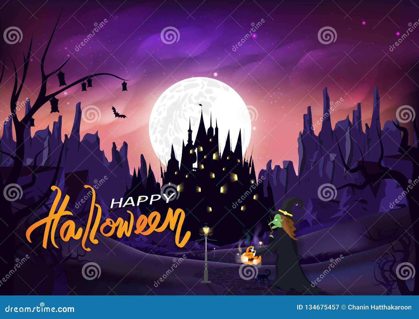 Halloween, heks en richel op de weg aan kasteel, magisch en pompoen, hefboom-o-Lantaarn, de scène van de het silhouetnacht van he