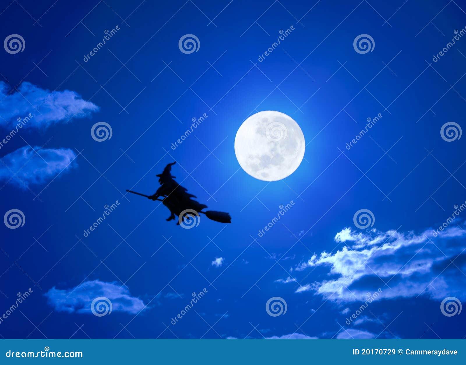 Halloween-Hexe-Flugwesen auf Broomstick