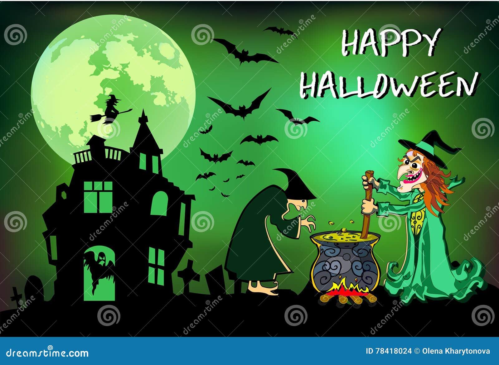 Halloween-Hexen Brauen Diesen Trank, Plakat, Bunte Illustration ...