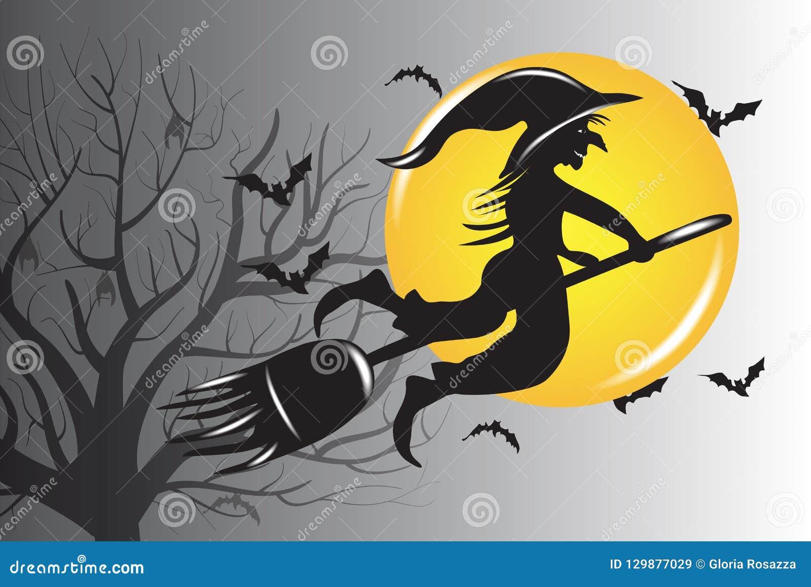 Halloween-Hexen-Schattenbild-Vektor-Entwurf