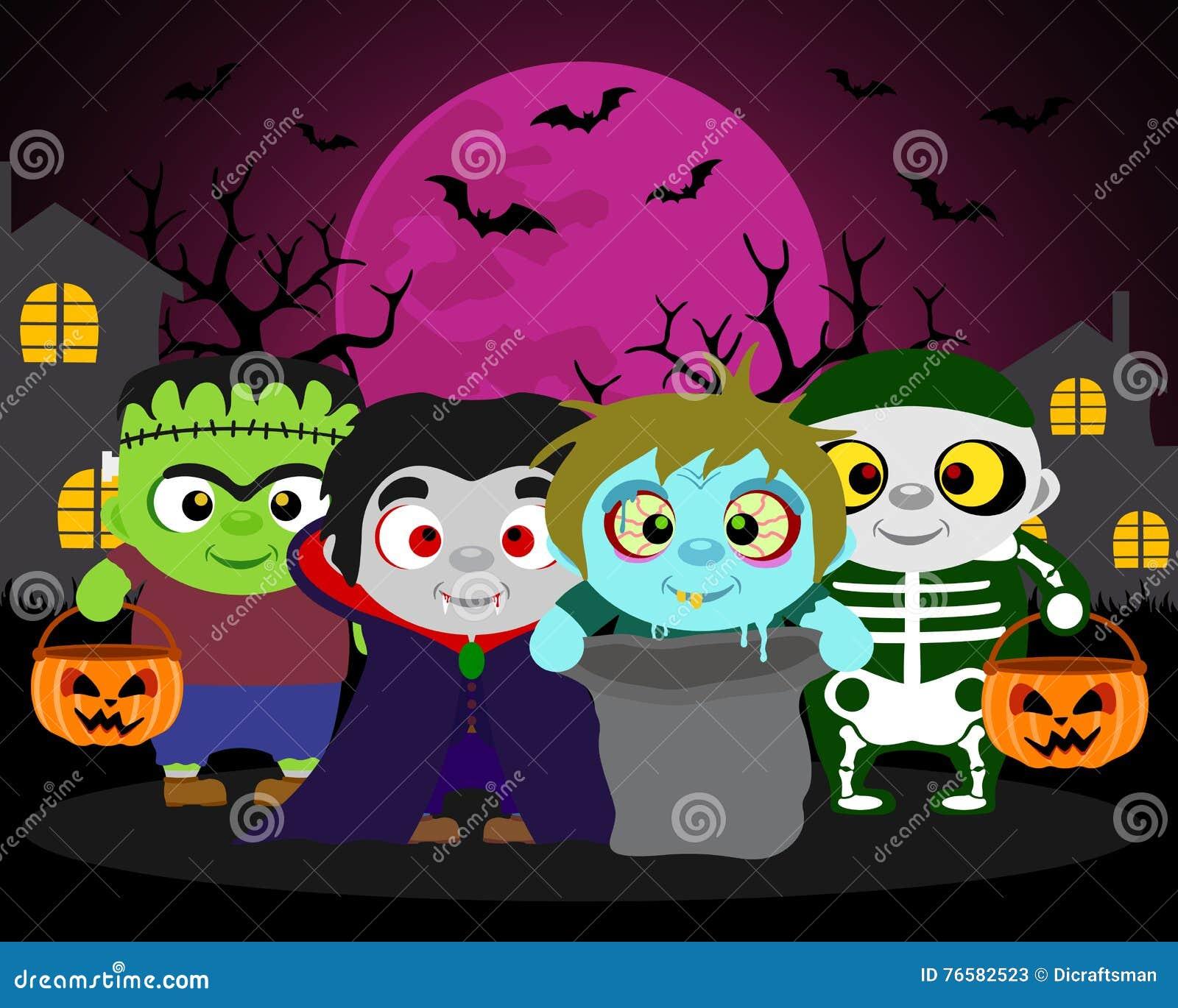 Halloween-Hintergrund Süßes Sonst Gibt\'s Saures Mit Kindern Vektor ...