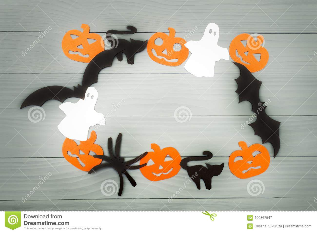 Halloween holiday background made of frame