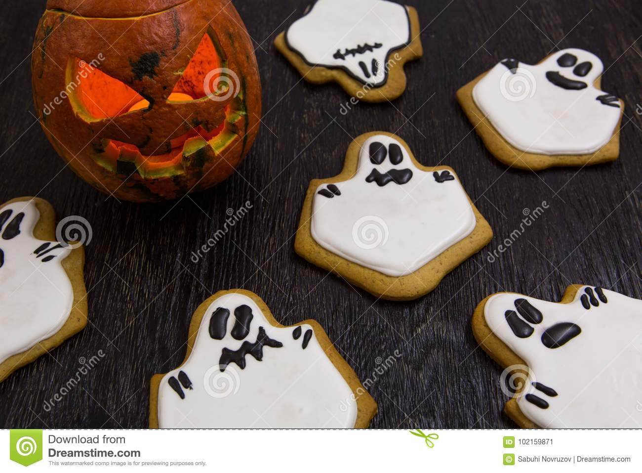 Halloween Holiday Cookies In The Shape Of Ghosts Stock Image