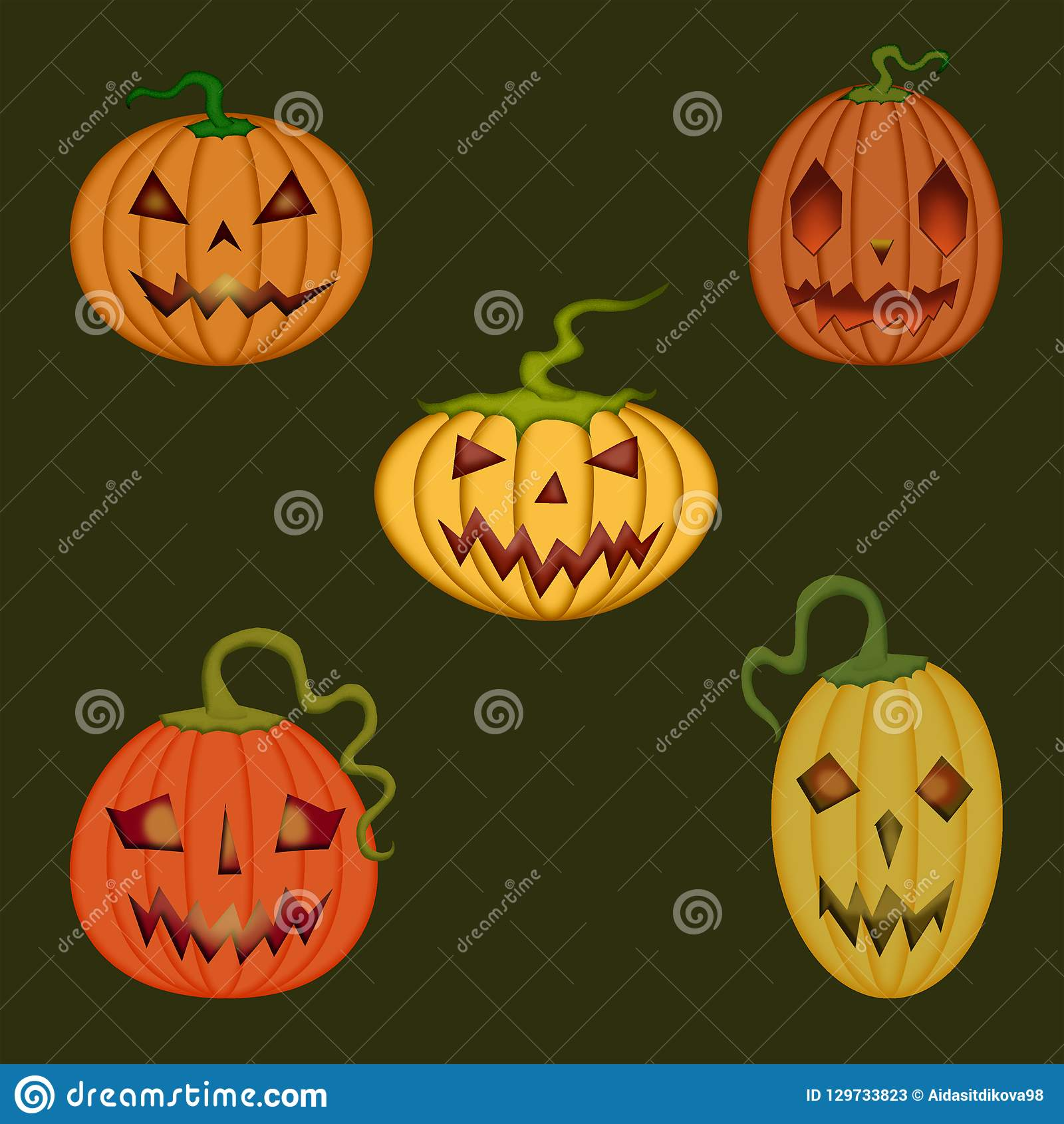 Halloween holiday, scary and cute pumpkins