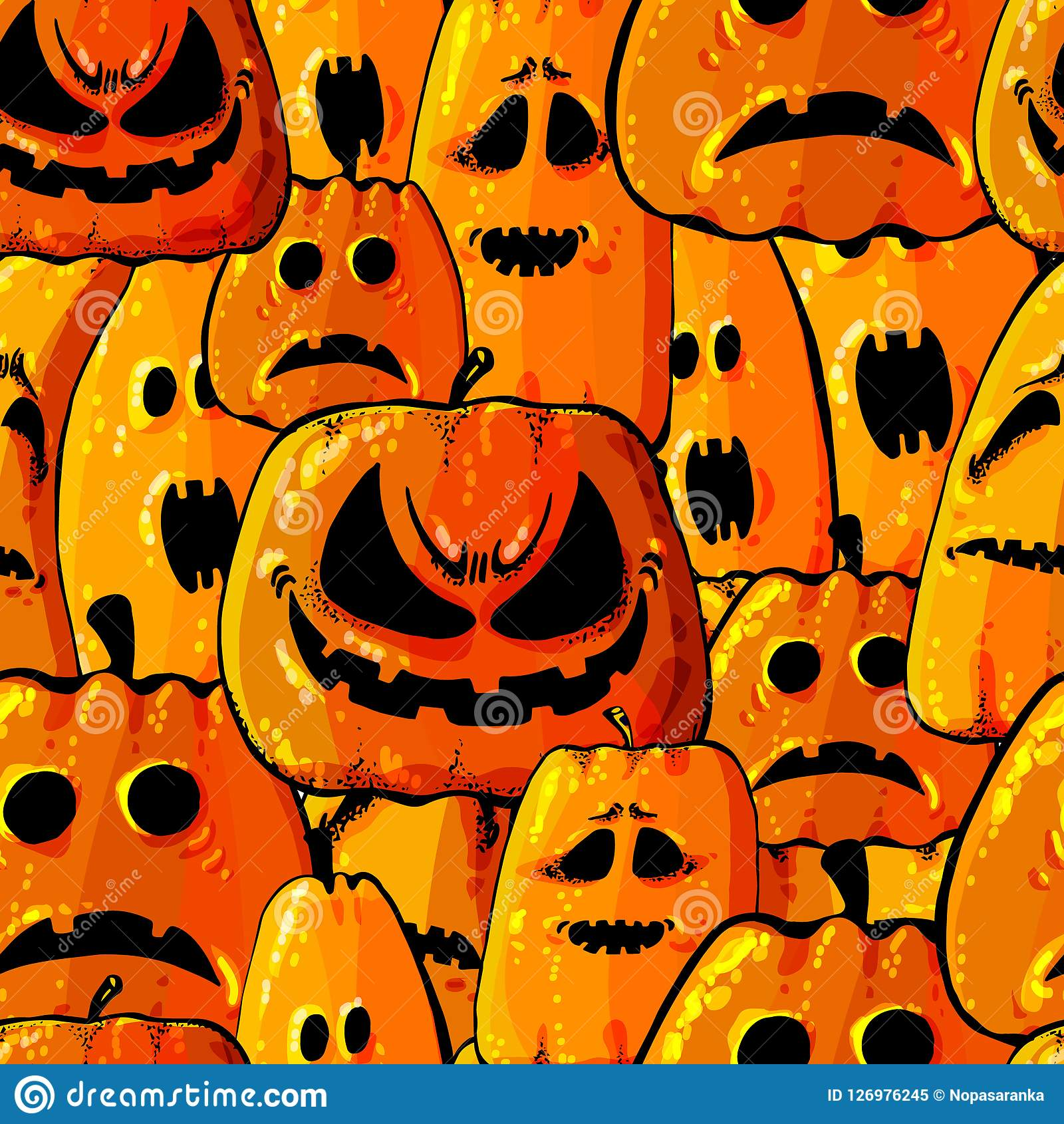 Halloween Holiday Seamless Pattern Background With Hand