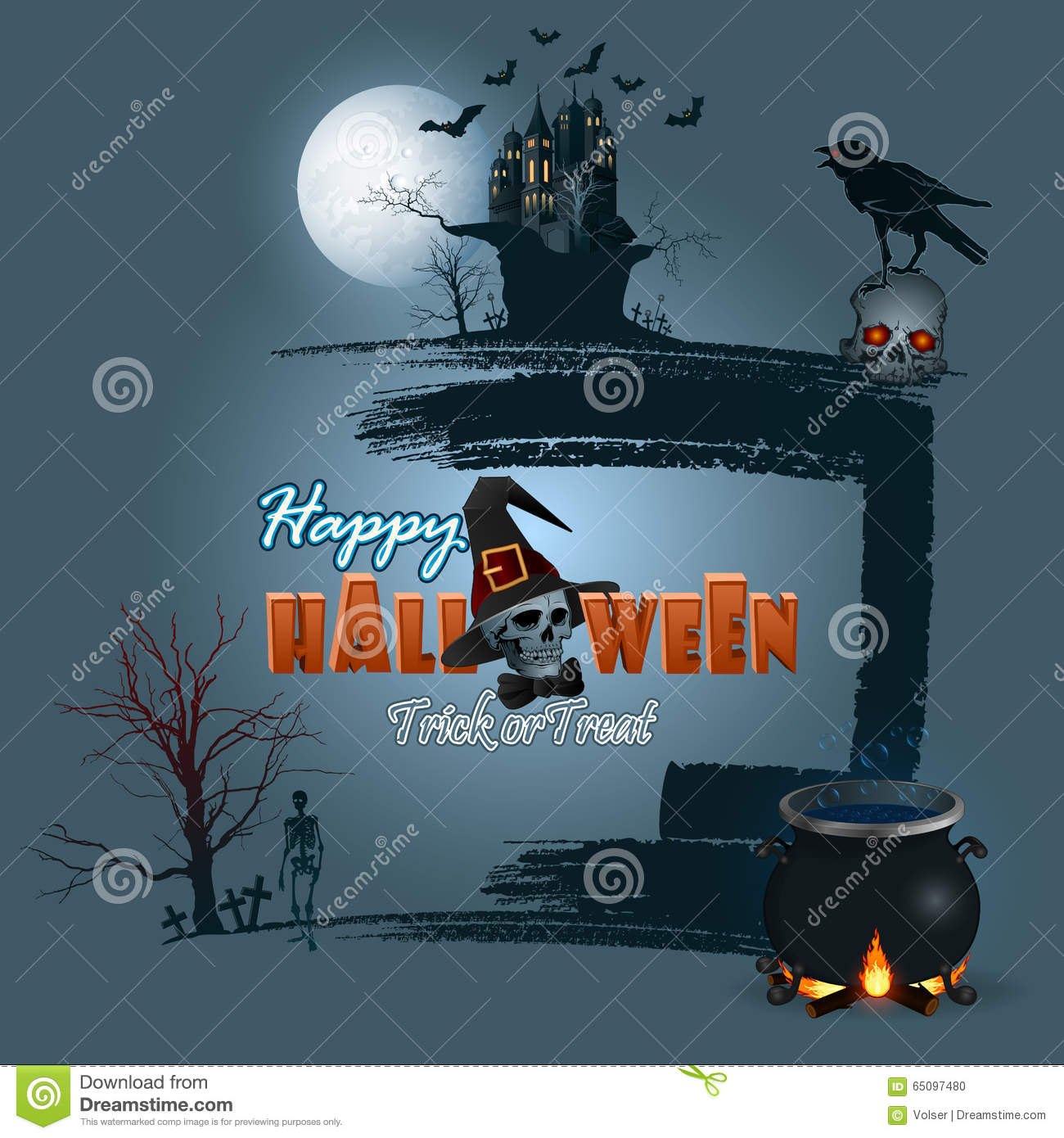 Halloween, Holidays, Template With Scary Moonlight Scene Stock ...