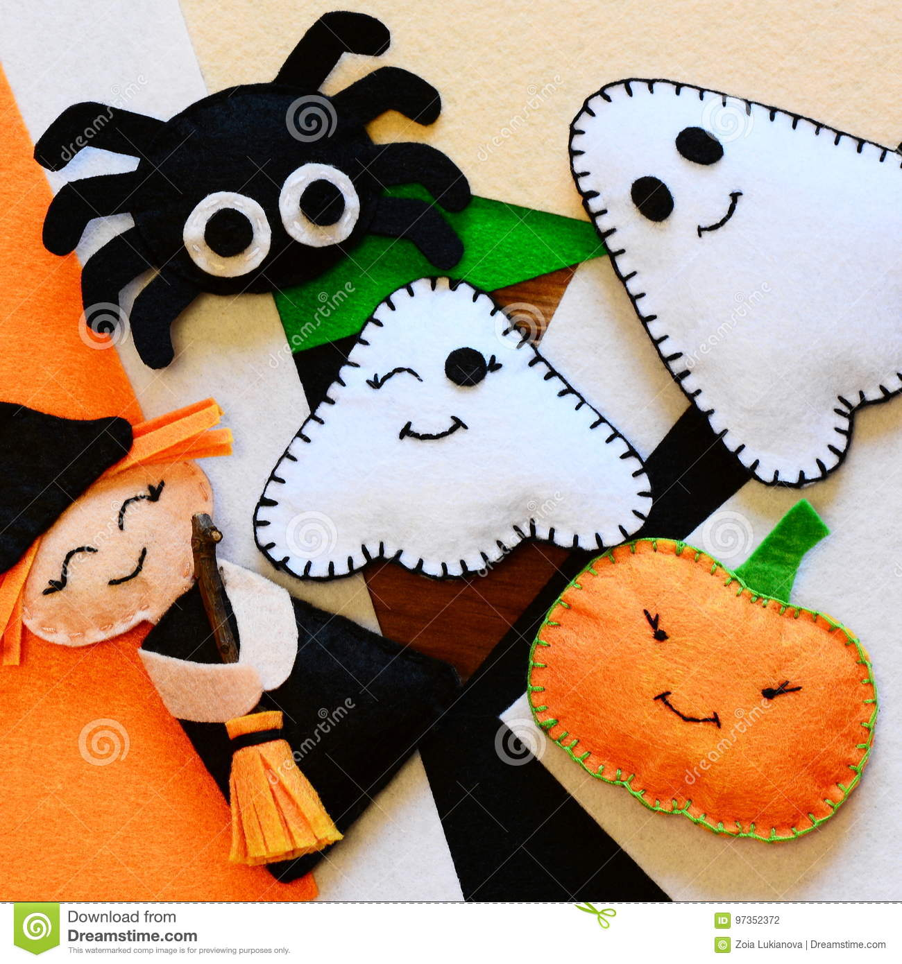 Halloween Home Decor Toys Felt Witch With Broom Pumpkin Head Two