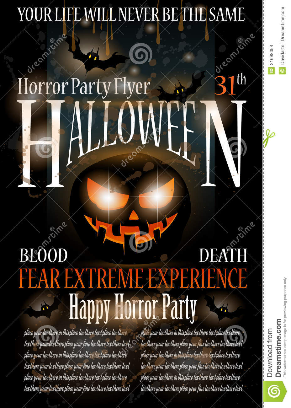 Halloween Horror Party Flyer Stock Images Image 21698354