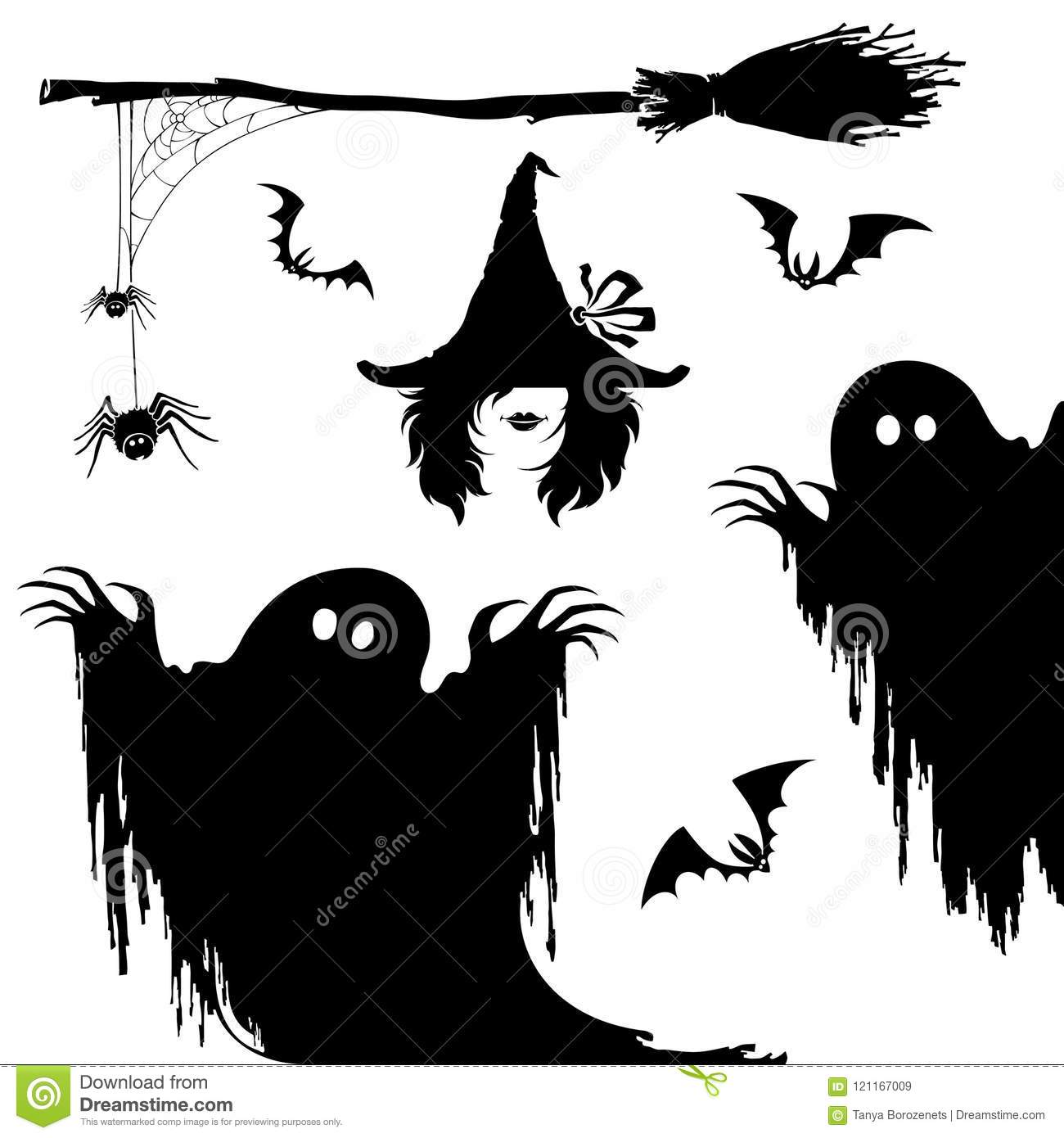 Halloween icon set.Witch,nightmare monster,broom and spiderweb.