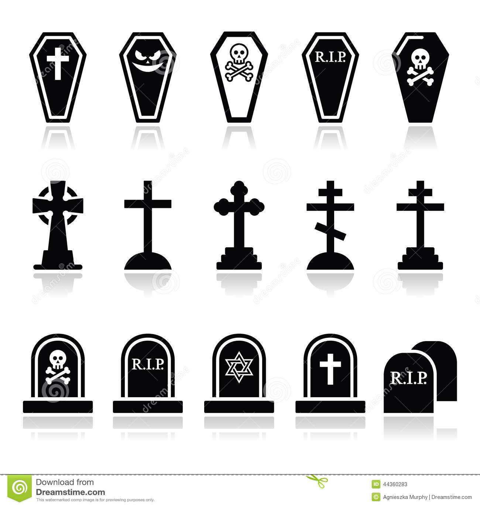 Halloween, icone del cimitero ha messo - la bara, incrocio, tomba