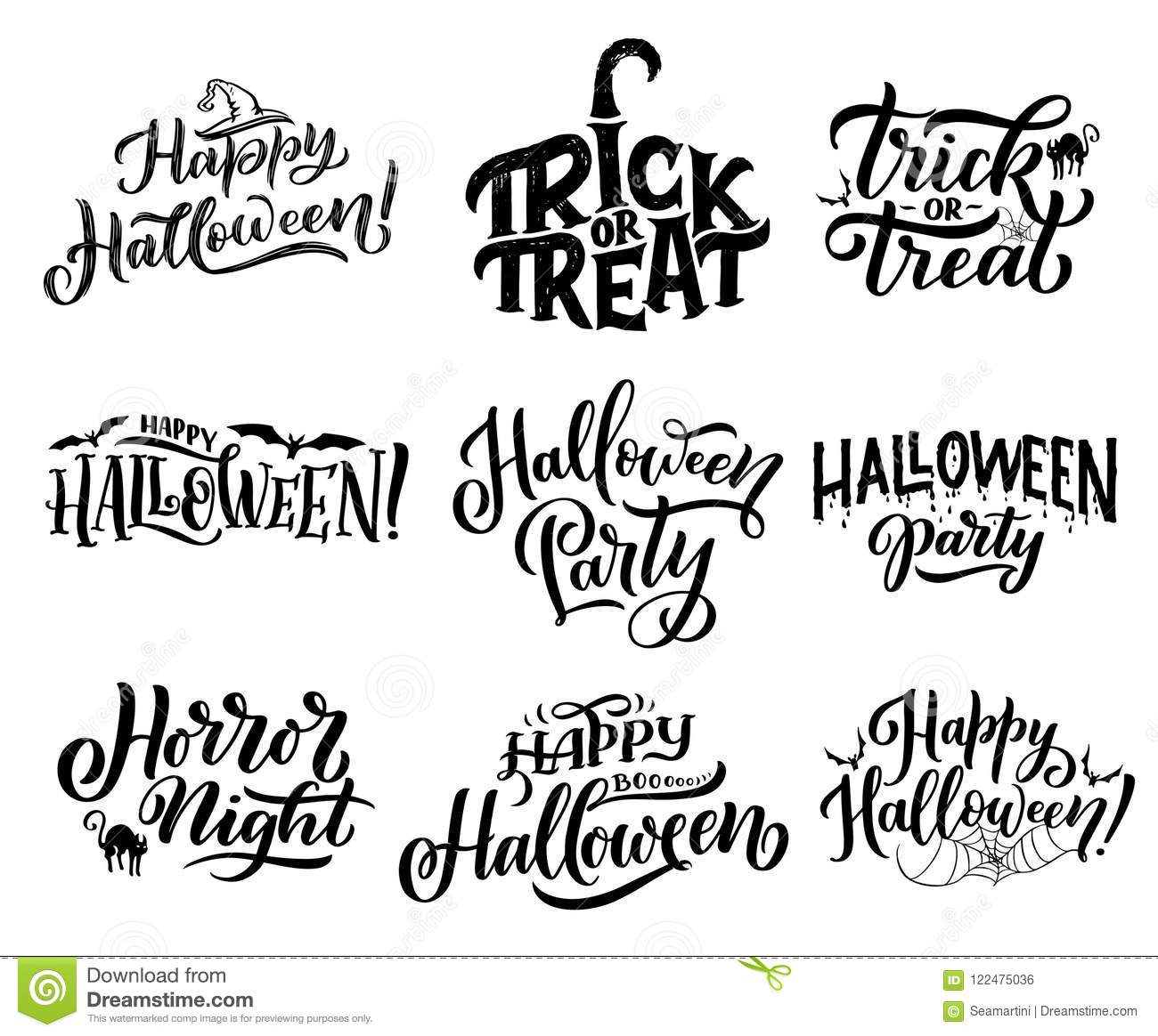 Halloween Icons With Greeting Wishes Lettering Stock Vector
