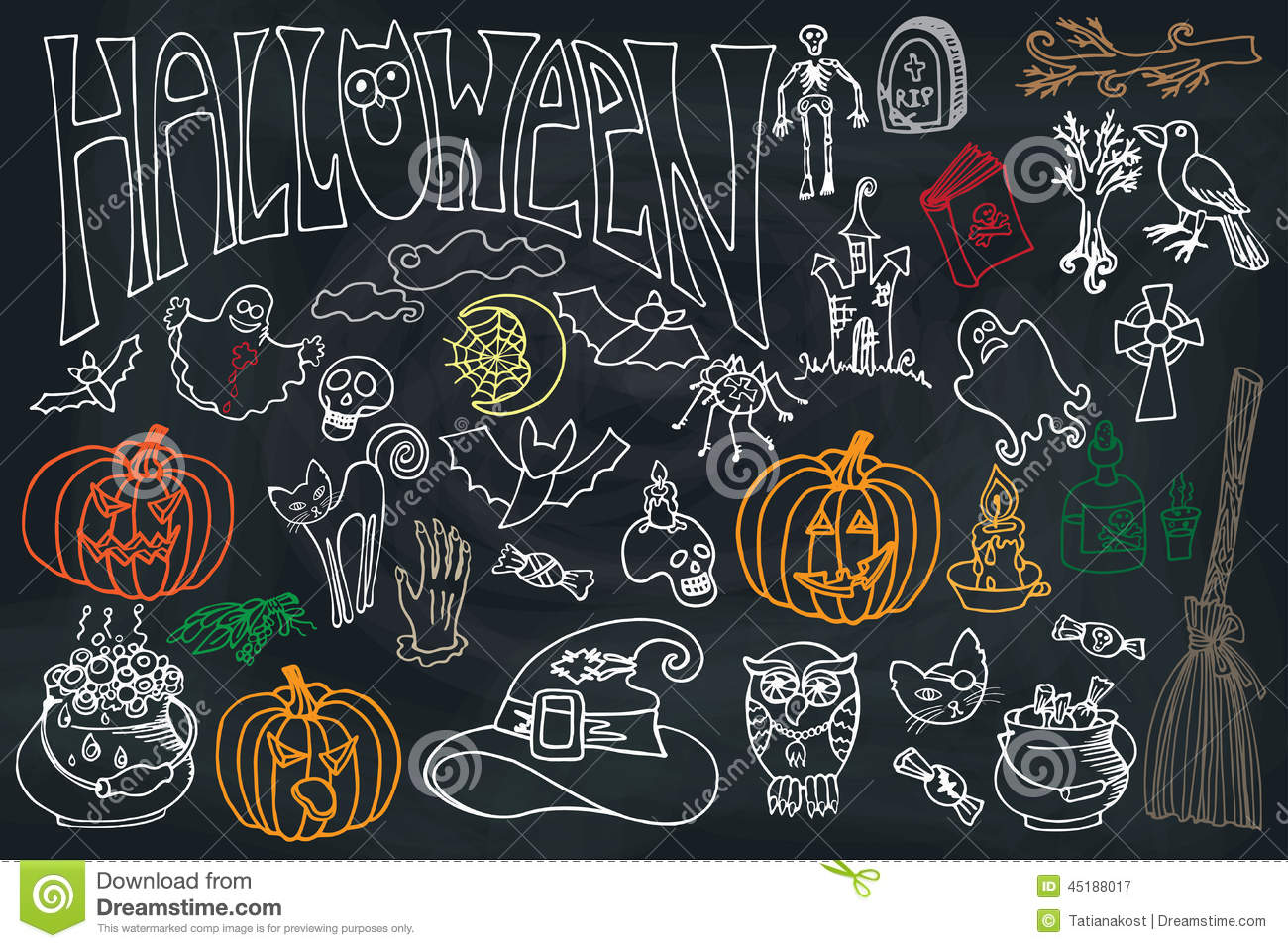 halloween icons set with text doodles sketchy chalkboard