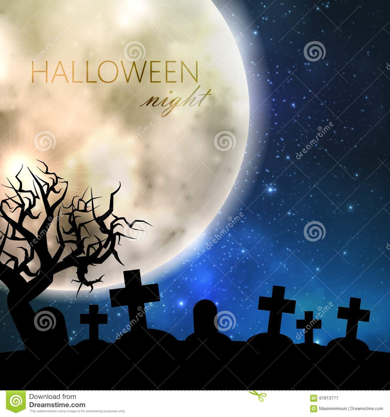 Halloween Illustration With Full Moon And Cemetery On The Night ...