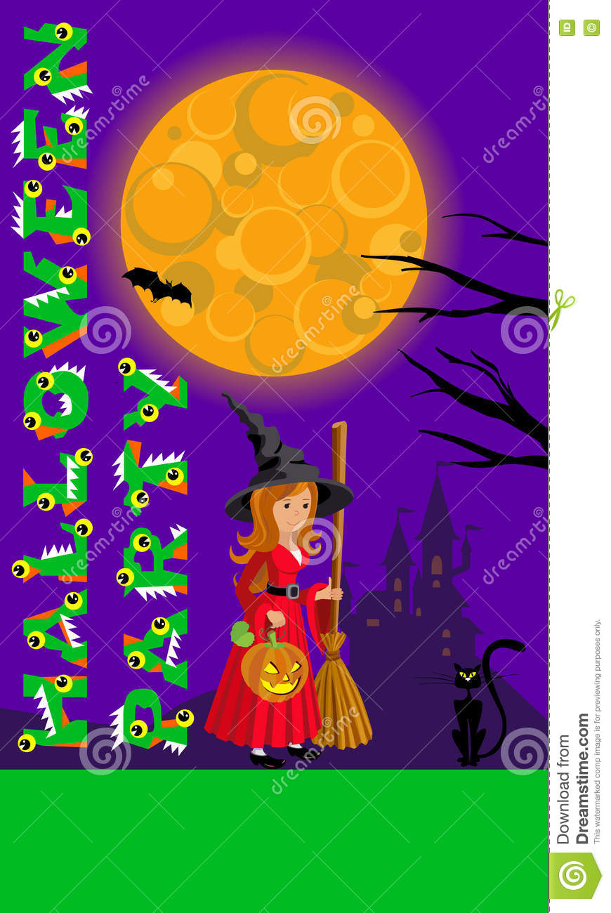 Halloween Illustration For Print Flyer Greeting With Castle Moon And