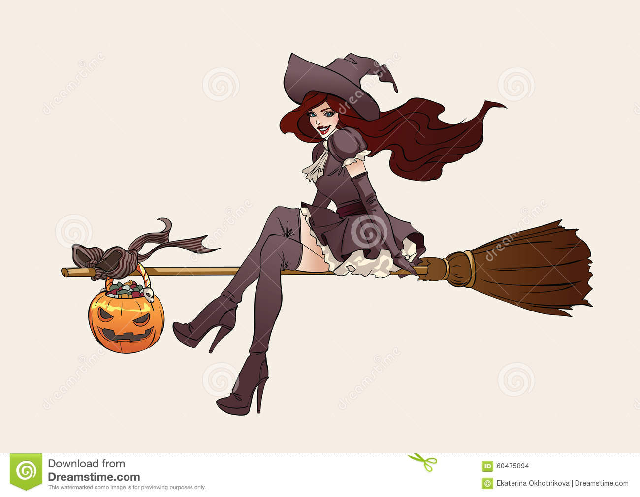 Halloween Illustration Witch On A Broomstick Stock Vector
