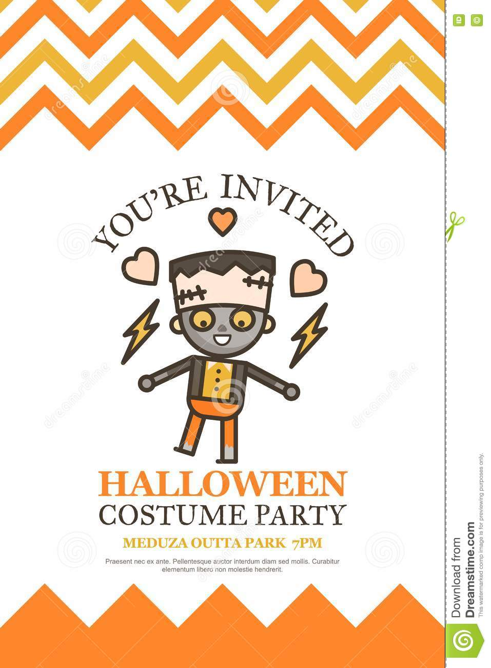 halloween invitation card for costume night party cute kid carto