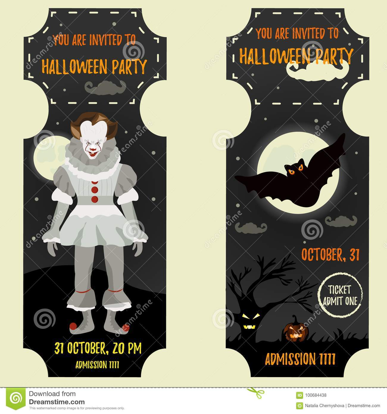 halloween invitation template with scary clown and big bat stock