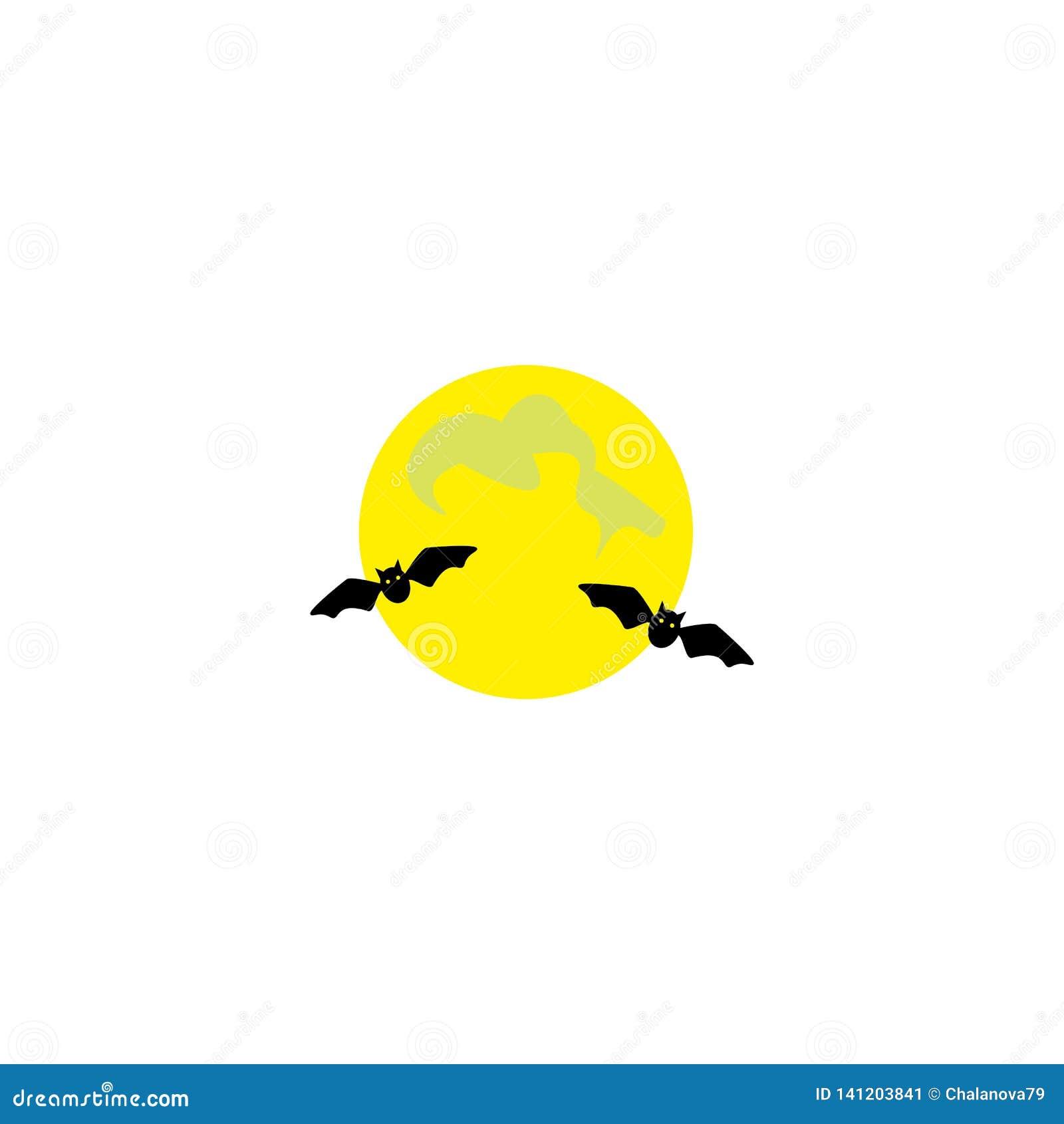 Halloween isolerade symbolwhite E Svart slagträ silhouette Nattsikt av fullmånen och flygaslagträn cartoon också vektor för corel