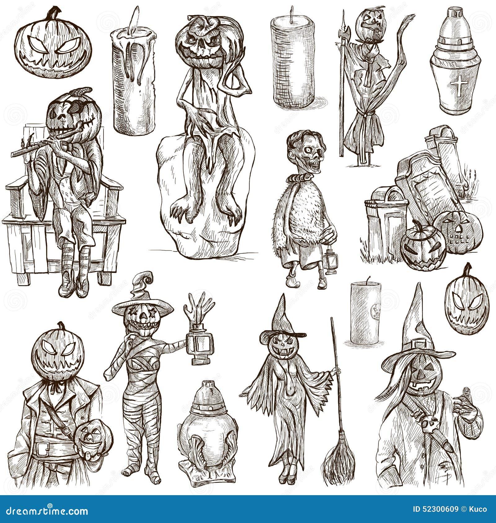 hand drawn halloween jack o lantern stock vector image 58718804