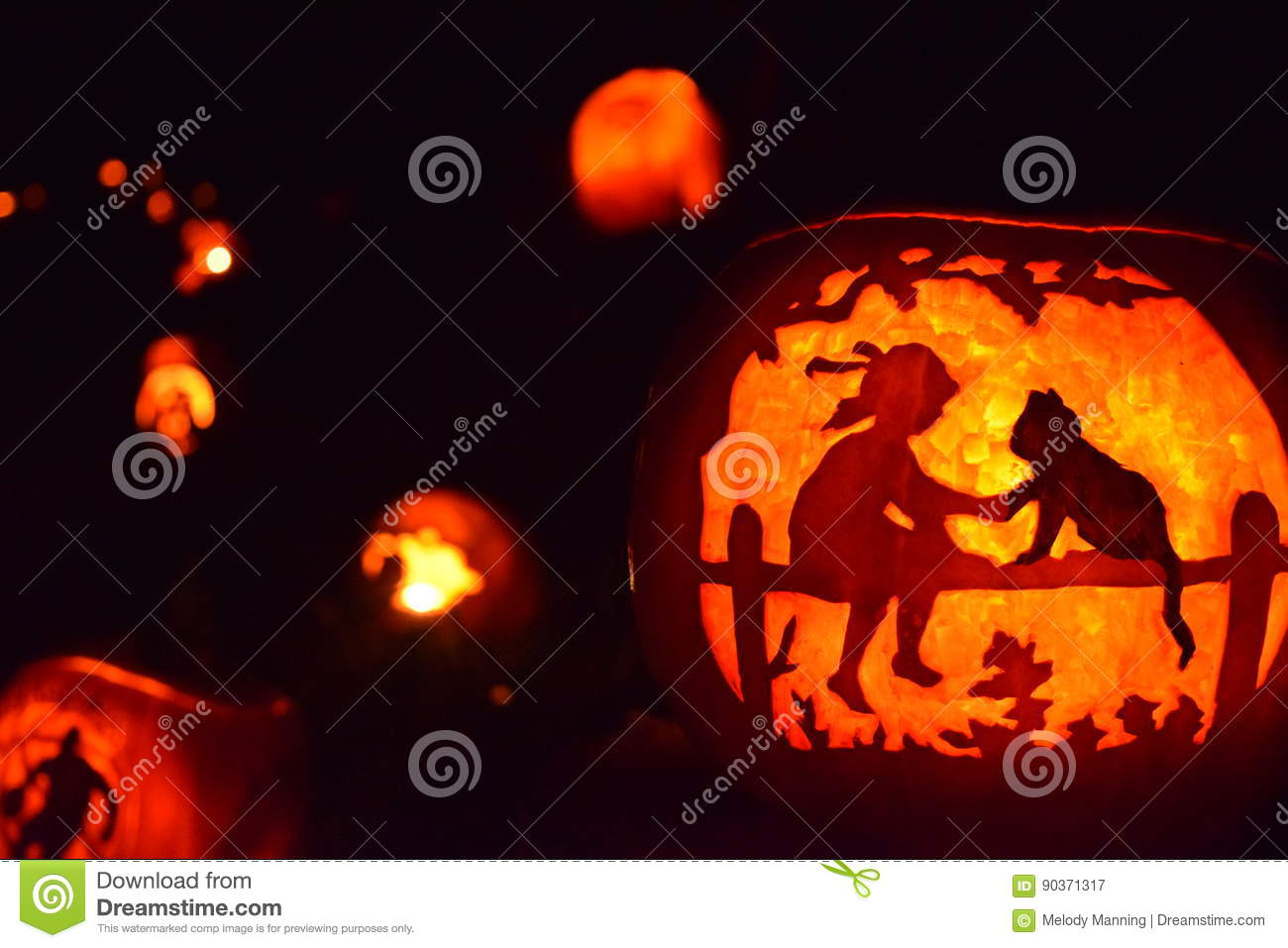 Halloween Jack O Lantern Stock Image Image Of Fence 90371317
