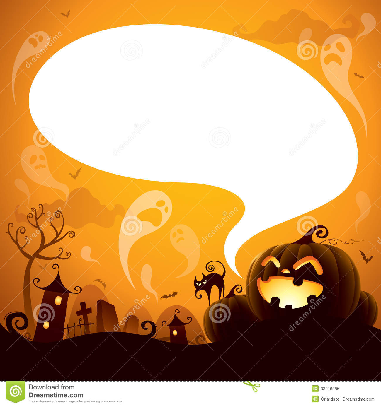 Halloween Jack-o-lantern With Speech Bubble Stock Vector ...