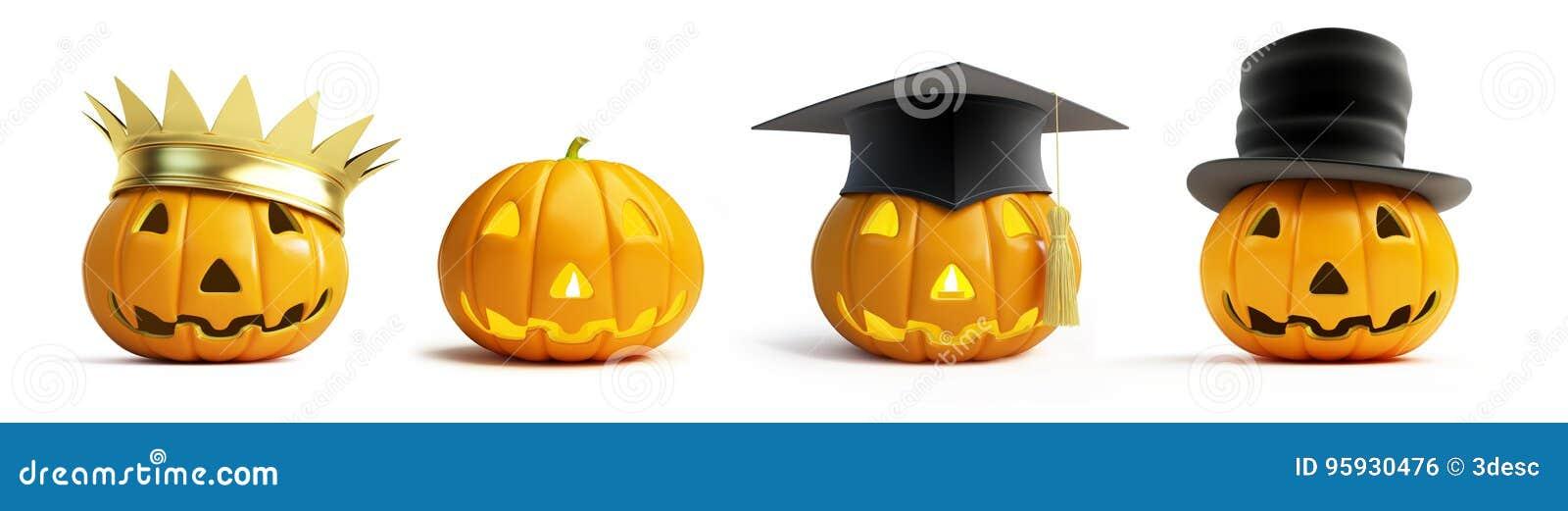 Halloween-Kürbiskrone auf einer weißen Illustration des Hintergrundes 3D,
