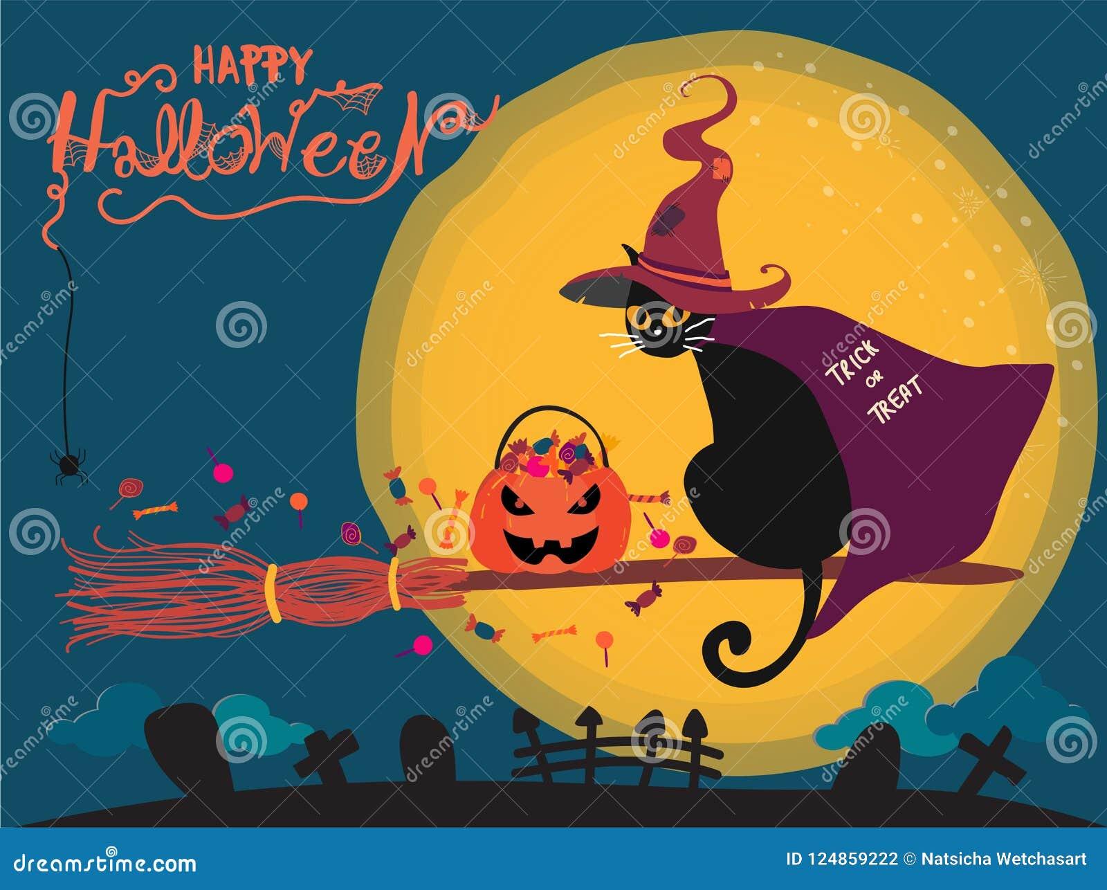 Halloween-kaart die met leuke zwarte kat op een heksenbezem berijden