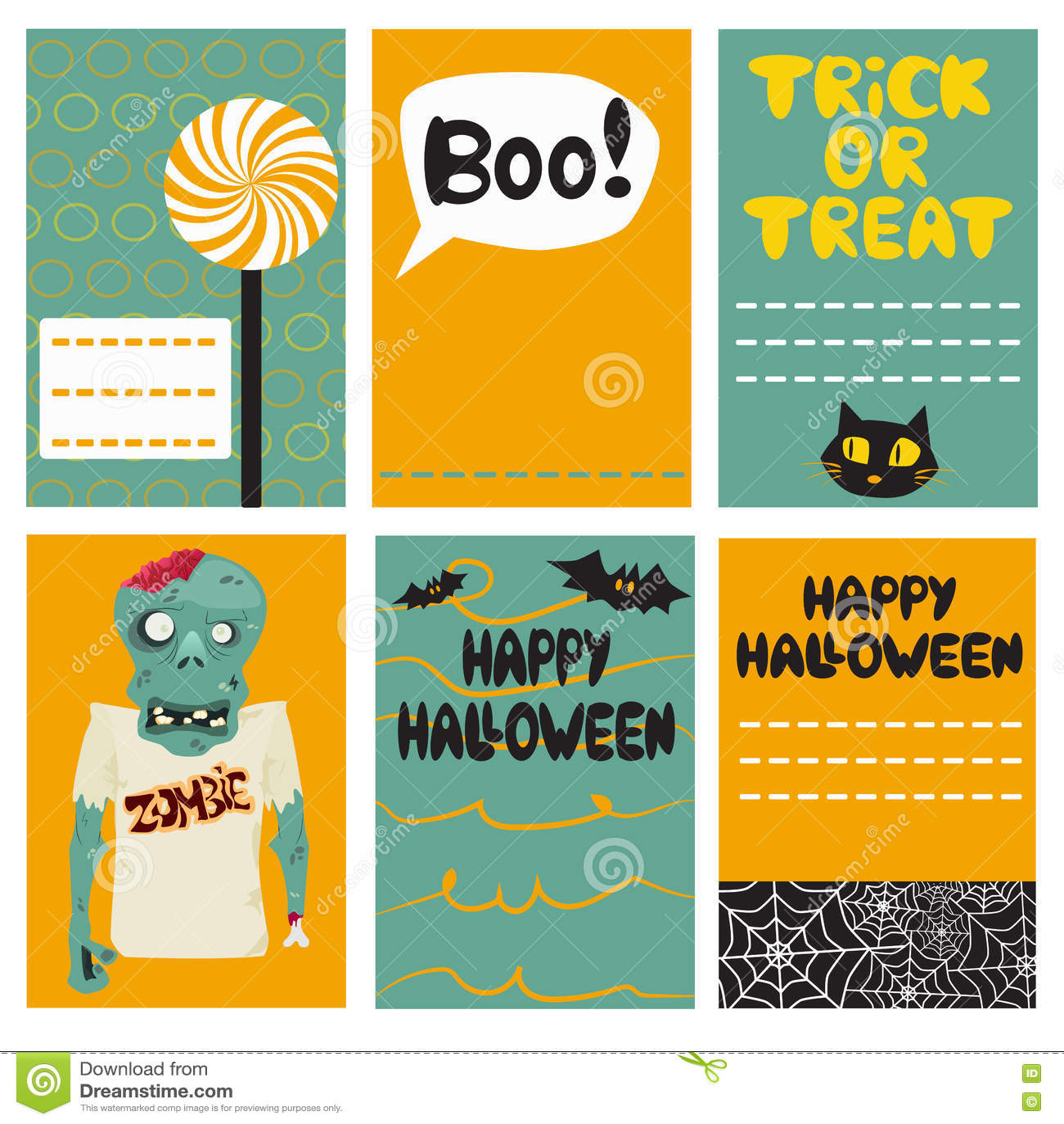 Halloween-Kartensatz Auch im corel abgehobenen Betrag