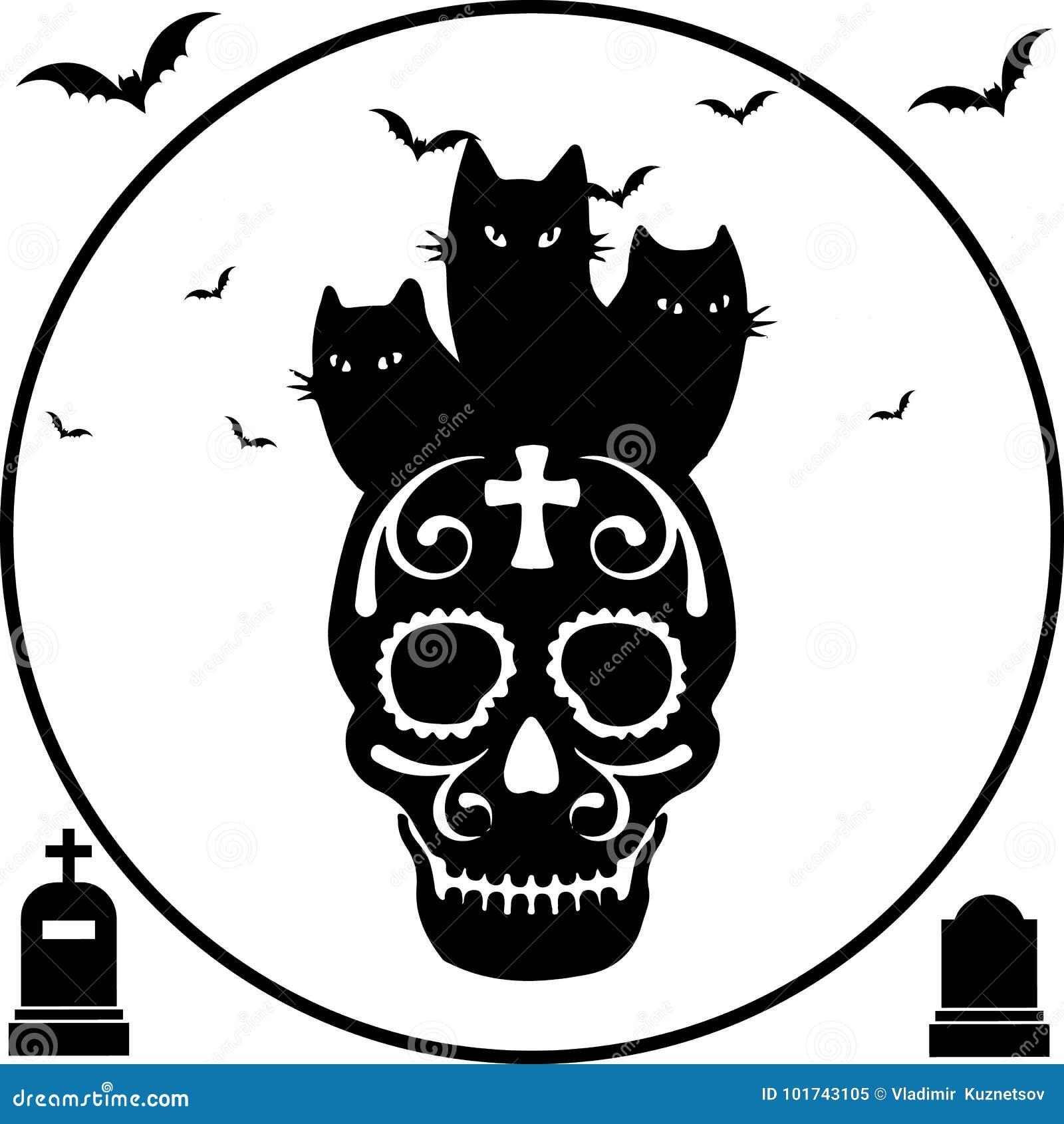 Halloween Katter för svart tre sitter på skallen, rund ram
