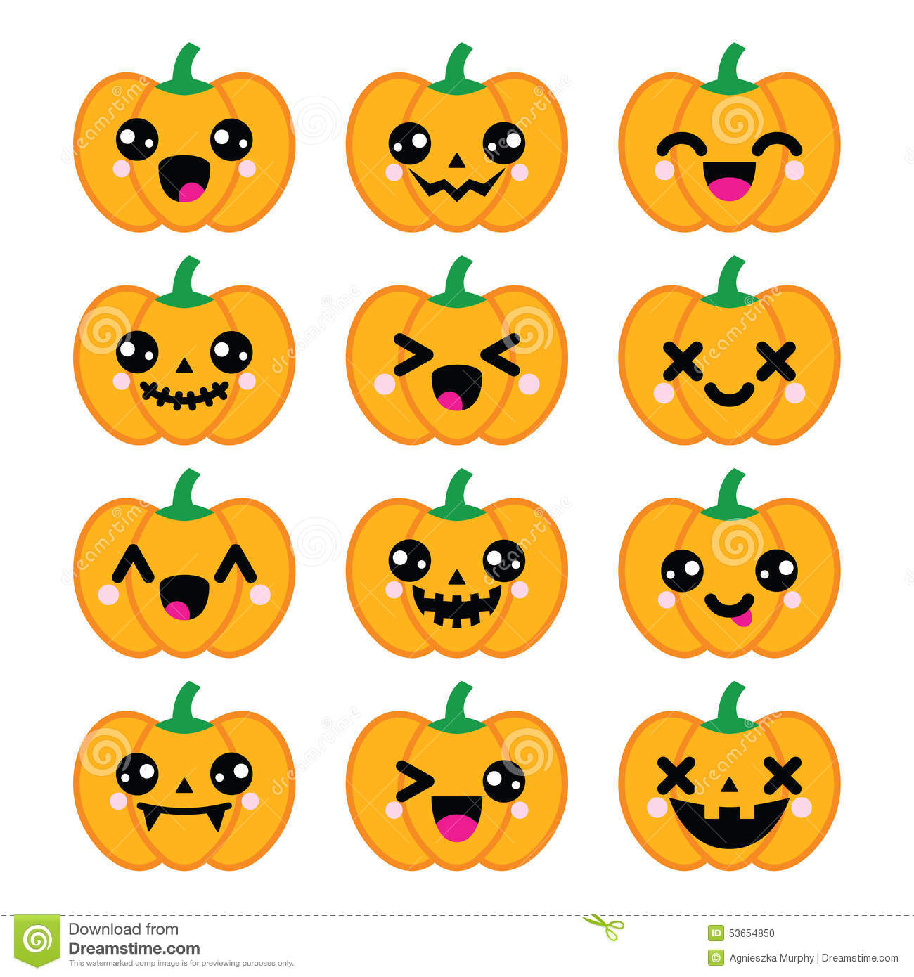 Celebrating Halloween - pumpkin with cute or scary faces icons set ...