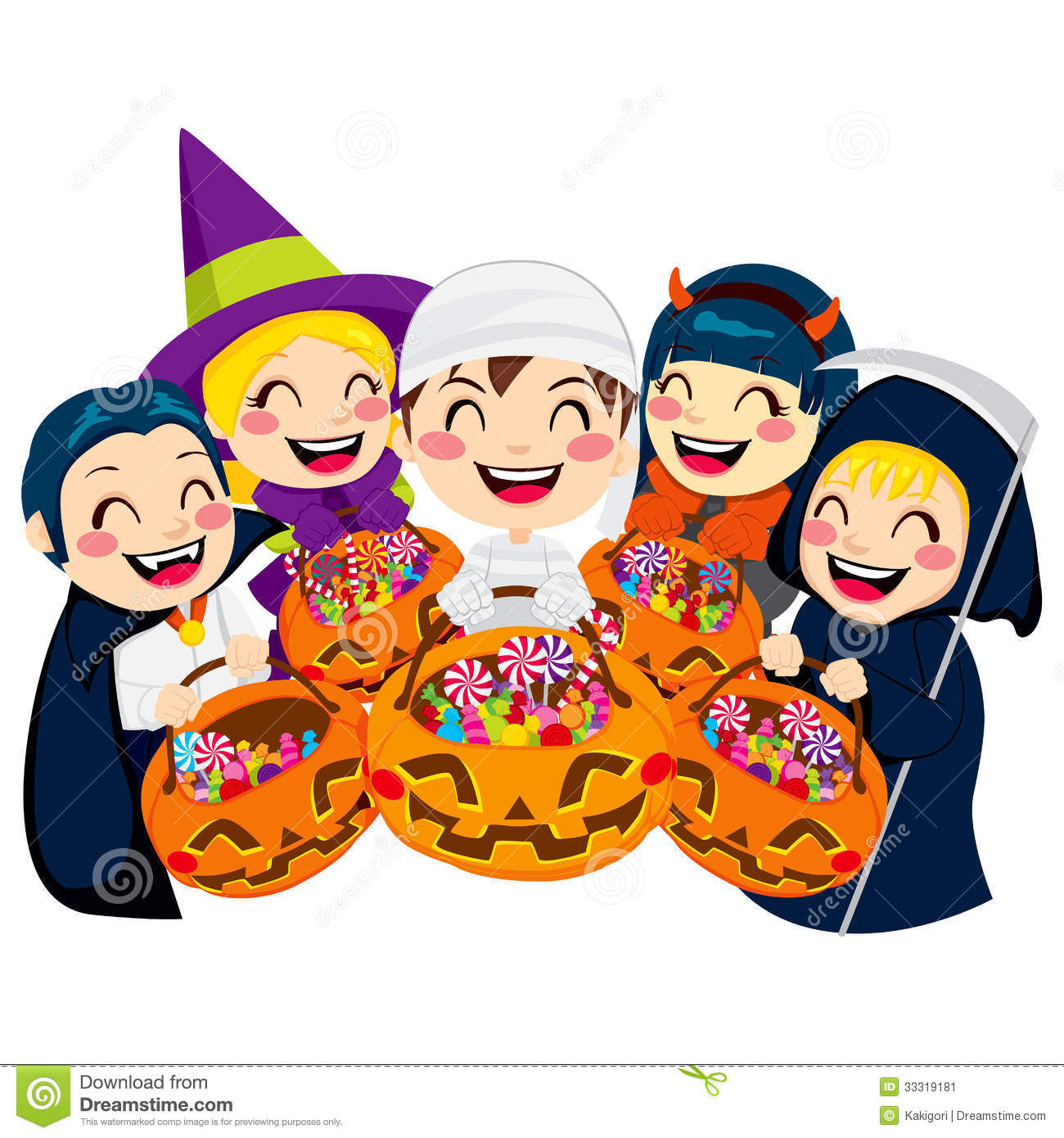 background candy five halloween isolated kids - Halloween Candy Kids