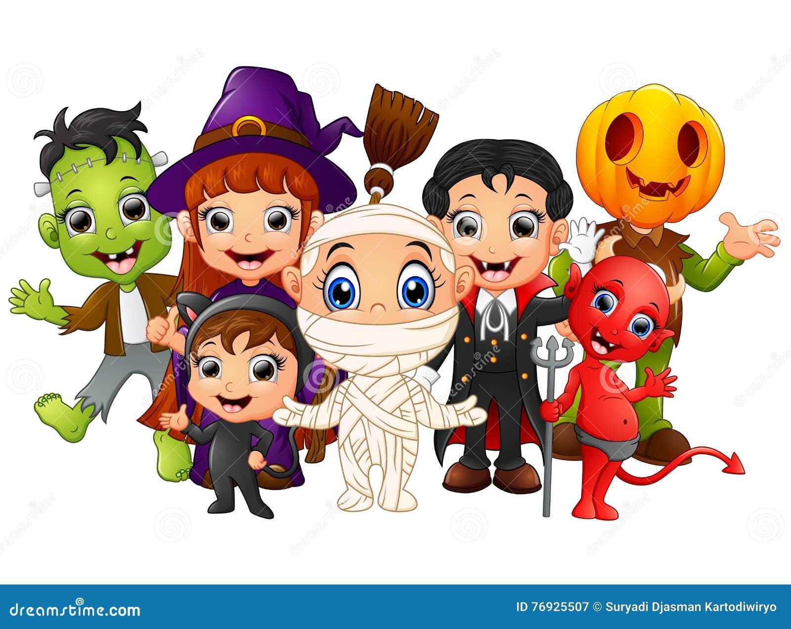 Halloween Kids Costumes. Witch, Frankenstein, Dracula, Cat ...