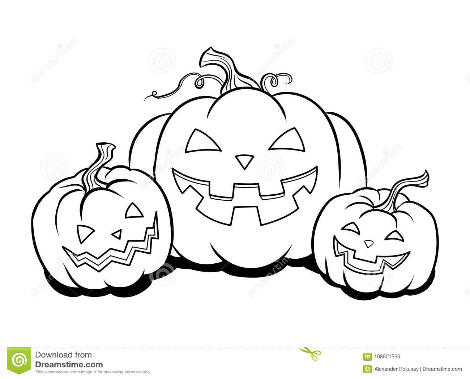 halloween pumpkin coloring book vector stock vector illustration