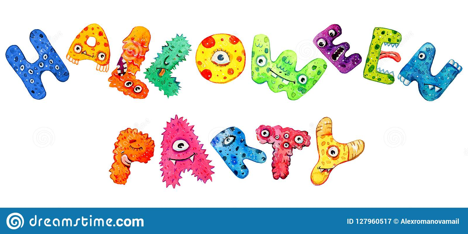 Halloween lettering. Title `Halloween party`. Cartoon hand drawn watercolor text. Monster letters