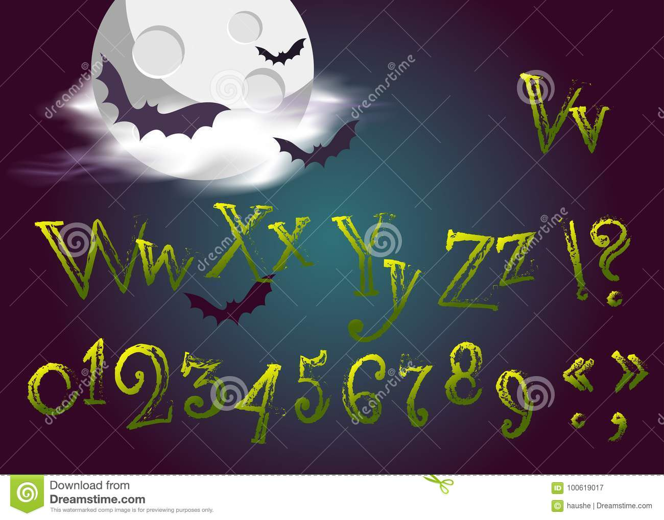 Halloween Letters In Cartoon Movie Style  Funny And Scary