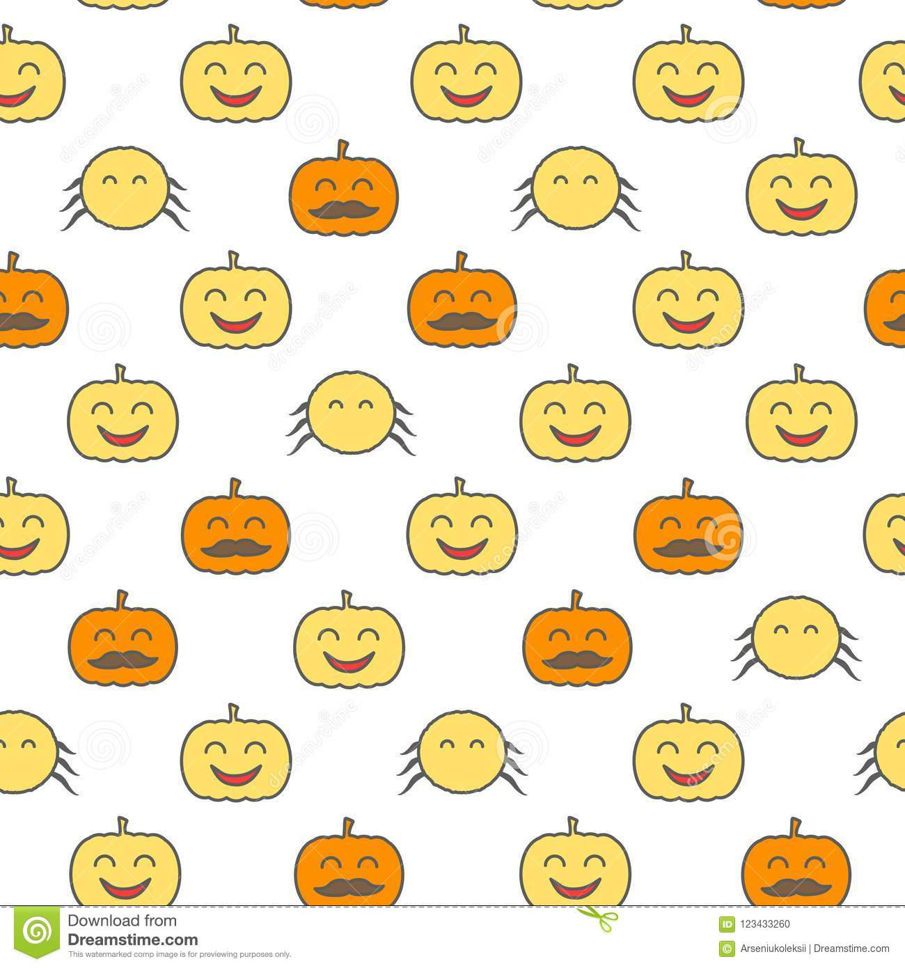 Halloween loopable background. Spider and jack o lantern seamless pattern.