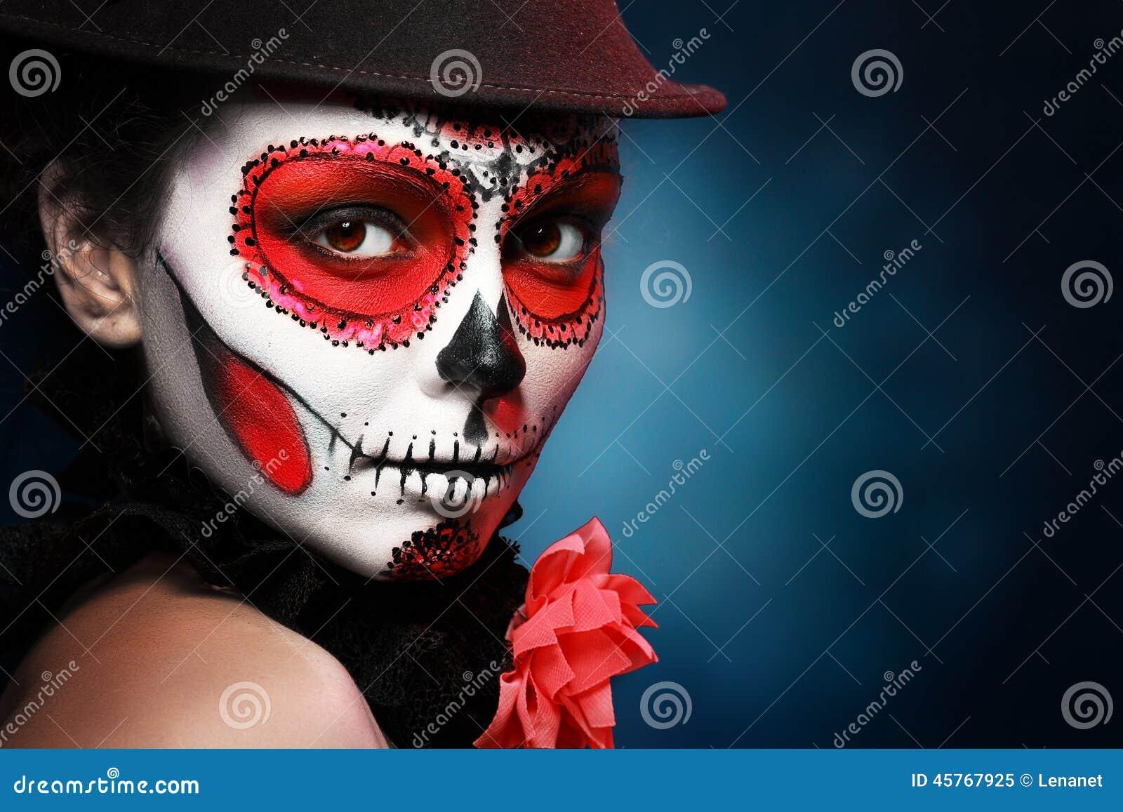 Halloween maakt omhoog suikerschedel