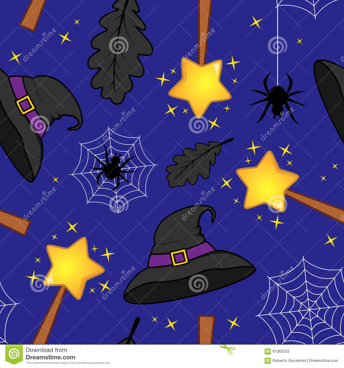 Halloween Magic Wand Witch Hat Pattern Stock Vector