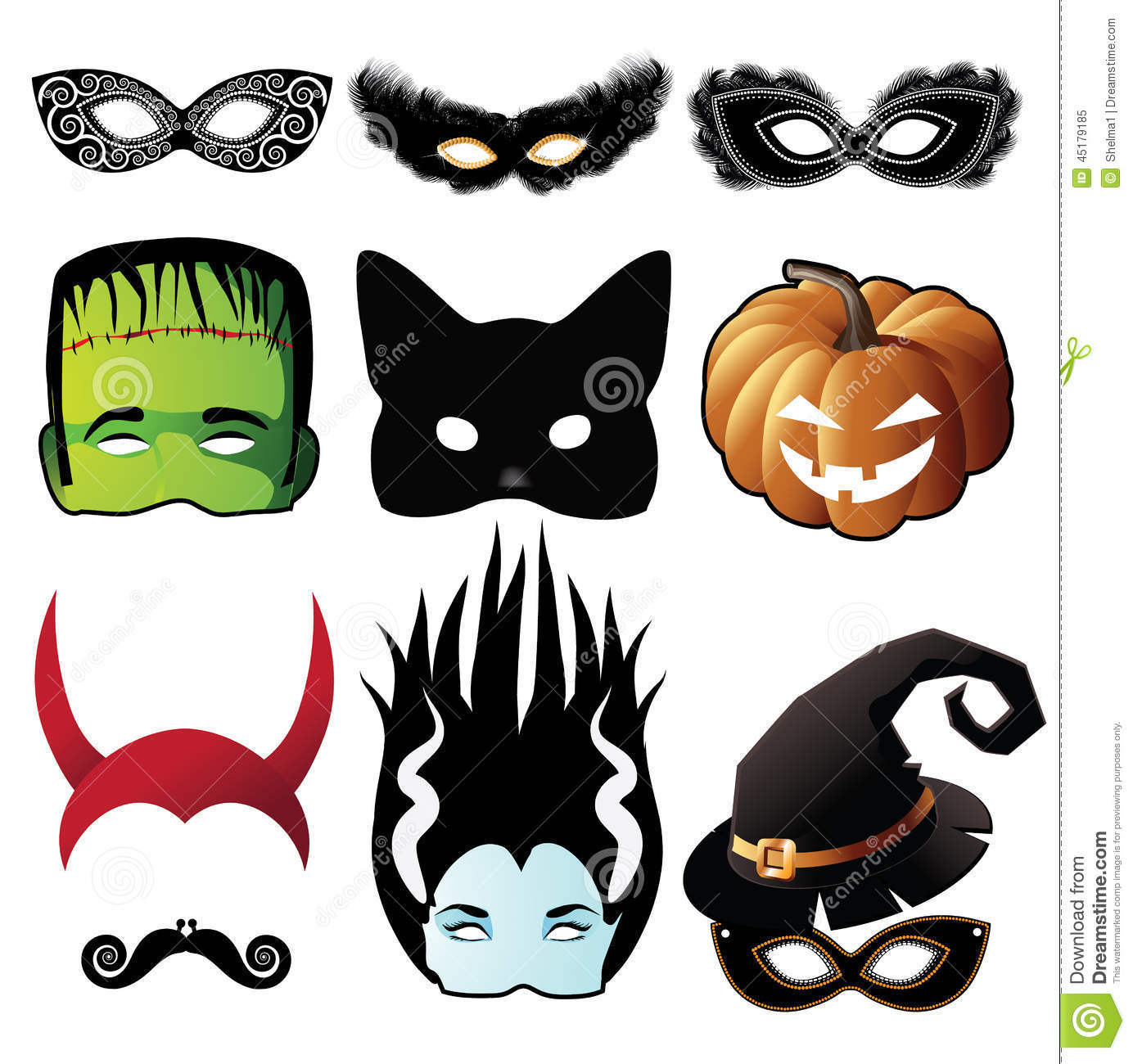 Halloween Mask Collection Isolated On White Stock Vector - Image ...