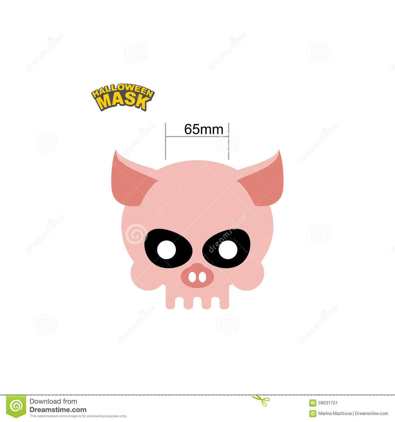 Halloween Mask Skull Of A Pig. Dear Head Of Skeleton Of An Anima ...