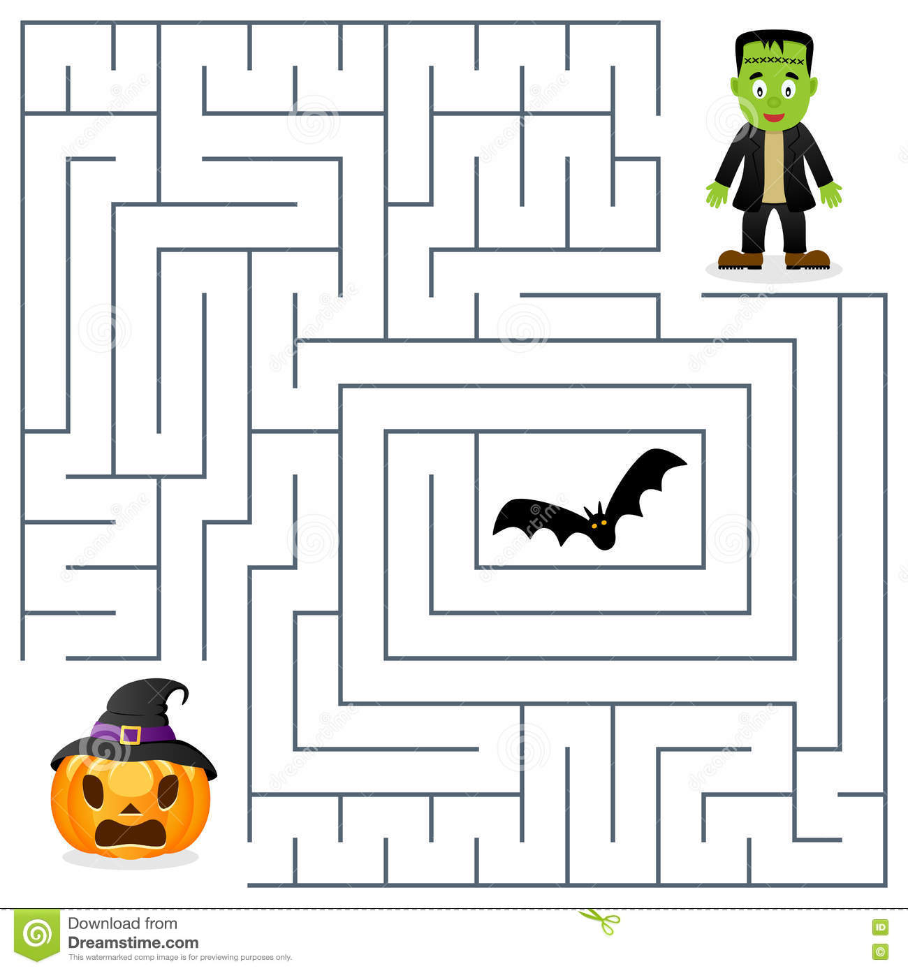 Halloween Maze - Frankenstein & Pumpkin Cartoon Vector ...